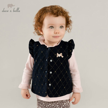 DBM8192 dave bella autumn winter baby girls sleeveless lovely coat children high quality coat kids pink vest 1 pc image