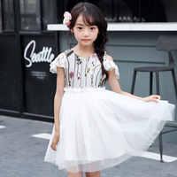 Bonito Crianças Meninas Sem Mangas Chiffon Bordado Unicórnio Partido Pageant Vestido 3D Sundress Roupas De Malha Fora Do Ombro Verão