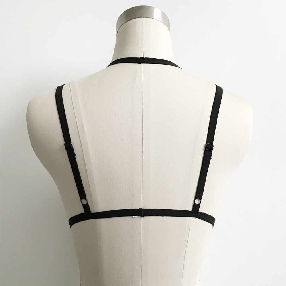 Sexy kobiety Gothic Ladies Choker biustonosz elastyczny uprząż bielizna Bondage biustonosz typu Strappy Cage krótki Top bez rękawów gorset bielizna
