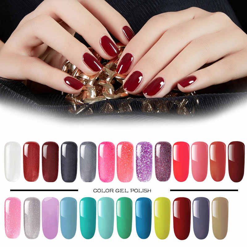 54 Warna Bling Neon Kuku Gel Cat UV Gel Varnish Rendam Off Mengkilap Merah Hybrid Gellak Nail Art untuk UV warna Gel Cat Kuku