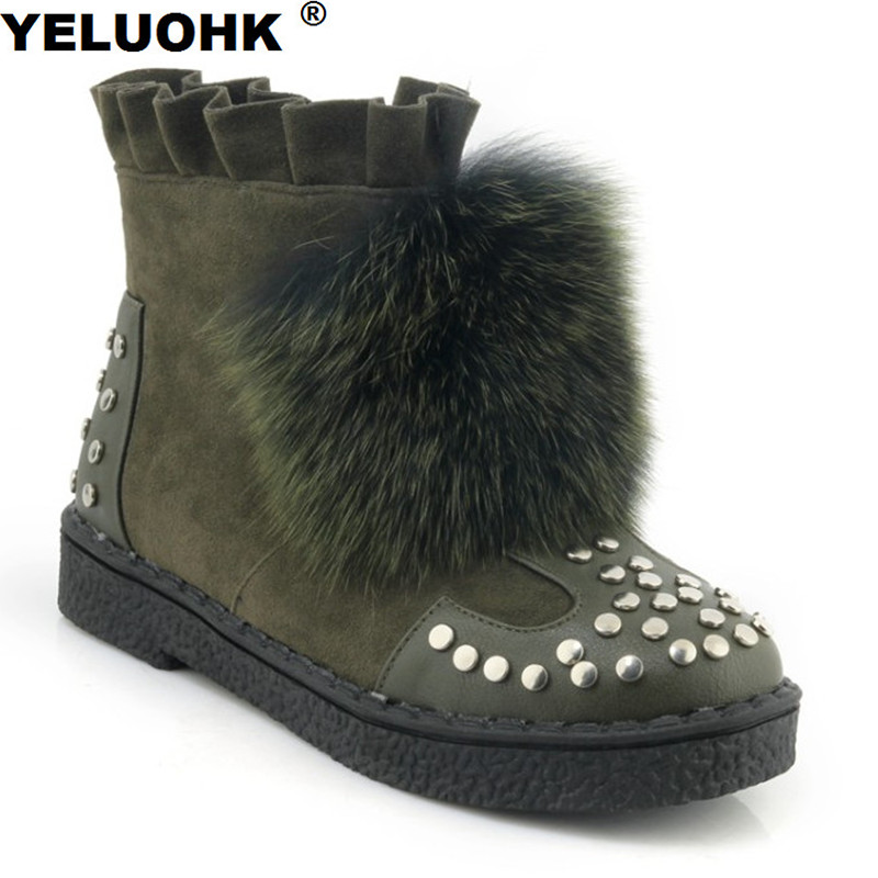 Large Size 43 Rivet Snow Boots Women With Fur Shoes Woman Winter Platform Warm Winter Leather Boots Women Shoes Flat Boots