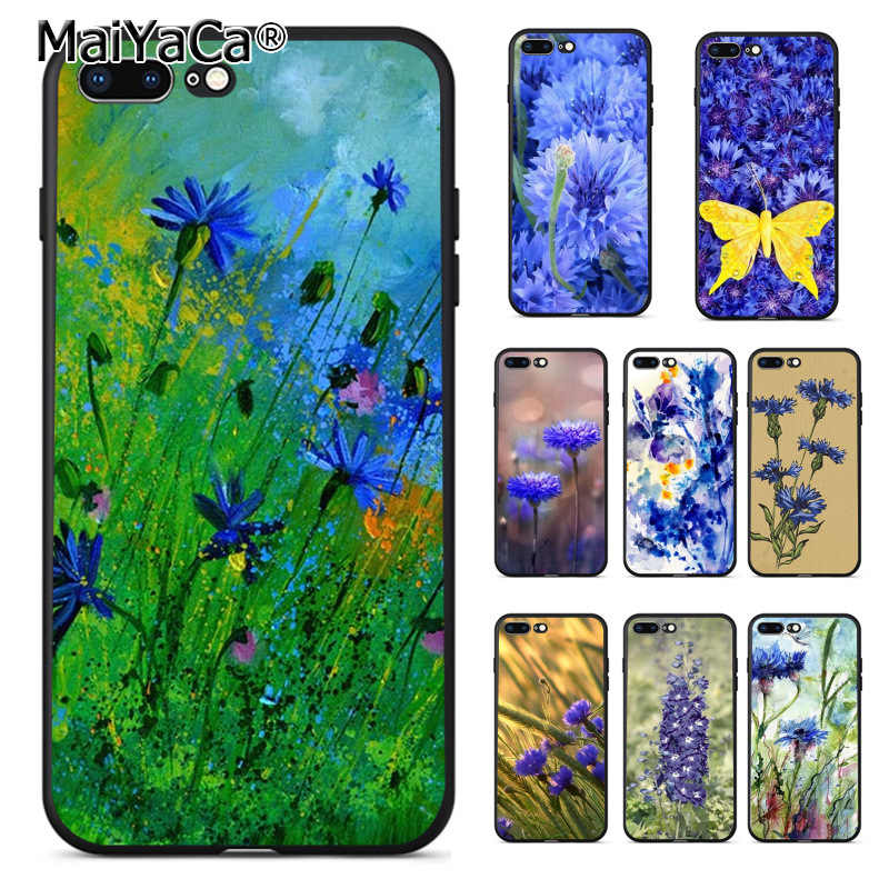 MaiYaCa Mini Blue Cornflowers Butterfly soft tpu phone Case for iPhone 8plus 7 6 6S Plus X 5 5S SE 11pro max case Cover