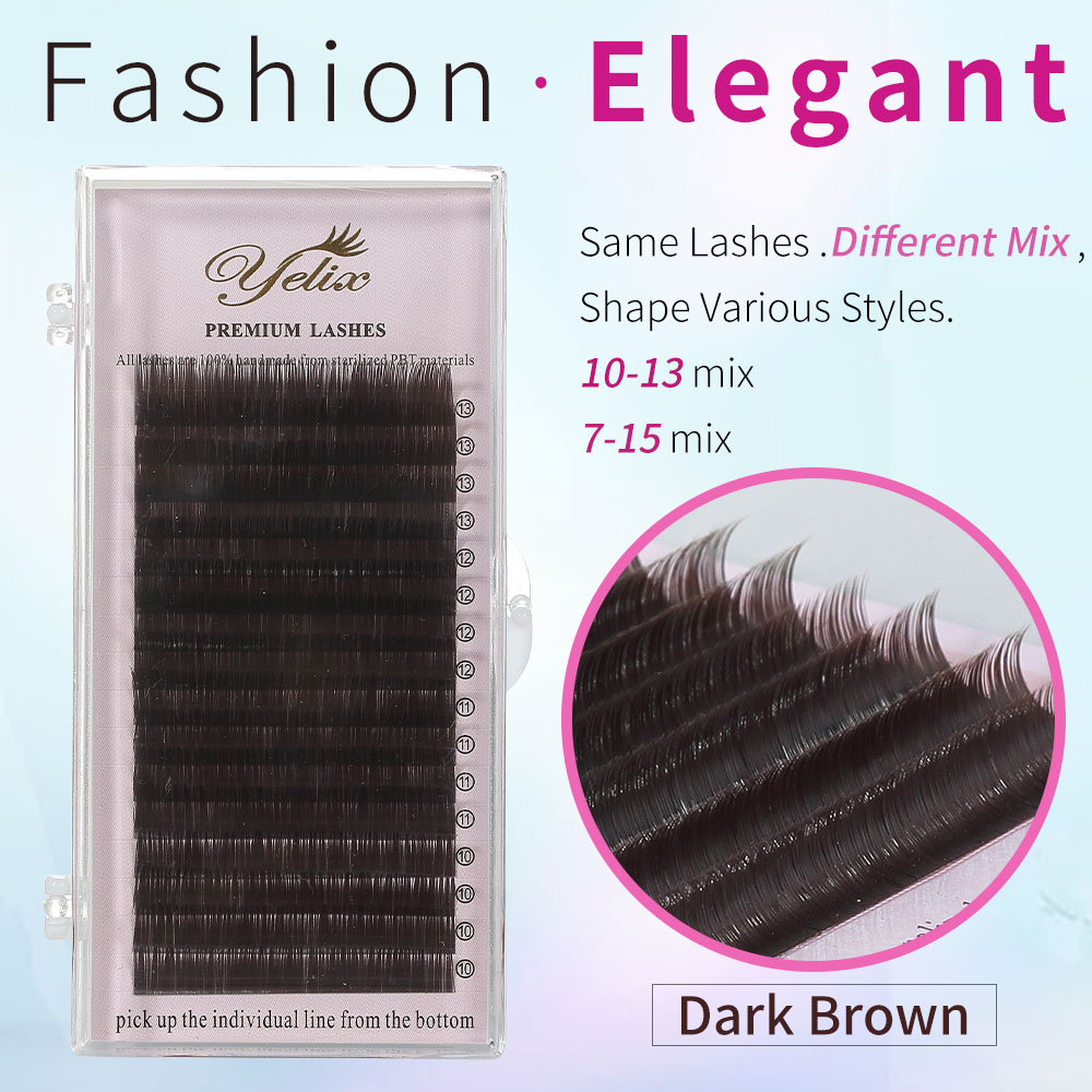 7-15 mix Dark Brown Faux Mink Eyelashes Natural False Individual Eye Lashes Colored Eyelash Extension Fake Lash Set For Makeup printio холст 50x50
