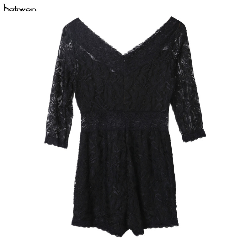 Women Sexy Lace Noir Dentelle Florale Femme Clubwear Bodycon Party Playsuit Jumpsuit Romper Plus Size