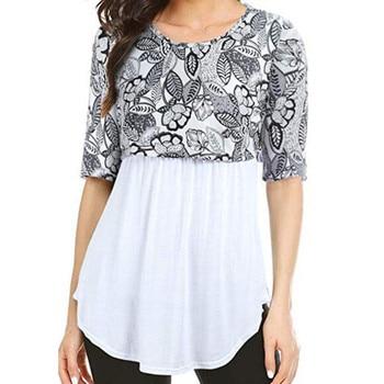 b04c6f0b8 LONSANT ropa de maternidad de las mujeres la lactancia materna impreso 2  piezas blusa moda media manga camiseta embarazada diario ropa de maternidad