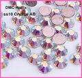 Бесплатная доставка! 1440 шт./лот, ss10 (2,7-2,9 мм) высокое качество кристалл dmc AB железо на стразы/горячая фиксация стразы - фото