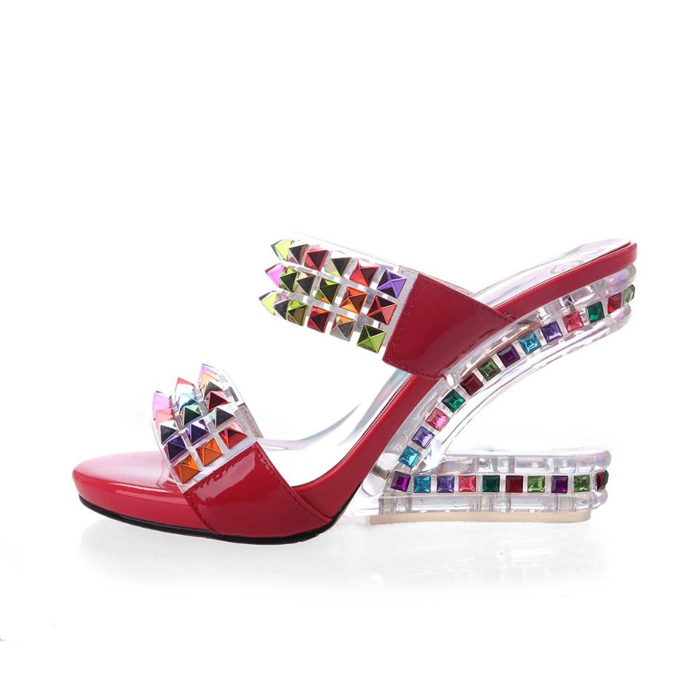 ФОТО 2017 Shoes woman genuine leather crystal superstar mules strange high heels slippers brand shoes colorful peep toe sandals 8-3