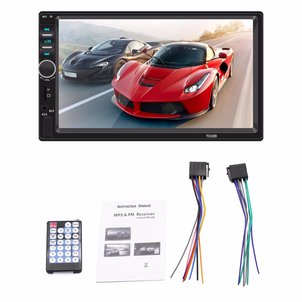 US $59 98 |7018B Universal 7 Inch 2 DIN Car Audio Stereo Player Touch  Screen Car Video MP5 Player Support Bluetooth TF SD MMC USB FM Radio-in Car