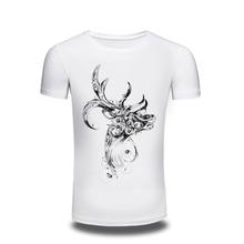 High Quality 3d T Shirt Mens Deer Punk Print Punk Gothic Short Sleeve T-Shirt O Neck Tee Shirt Summer Street wear Brand Clothing