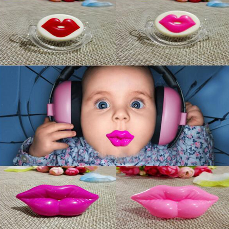 Silicone Kiss Lip Funny Nipple Dummy Baby Teeth Soother Joke Prank Toddler Nipples Teether Baby Pacifier Care Toddler Pacifier