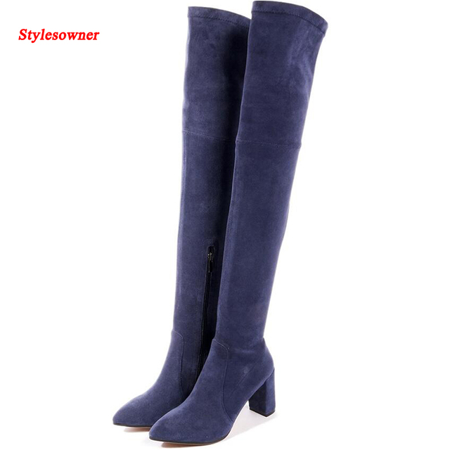 f68c0d9cc5c5 Stylesowner Lady Sexy Thigh High Long Boots Elastic Cloth Slim Leg Over  Knee Boot Chunky High Heel Fashion Autumn Winter Boots
