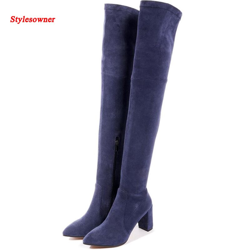 Stylesowner Lady Sexy Thigh High Long Boots Elastic Cloth Slim Leg Over Knee Boot Chunky High Heel Fashion Autumn Winter Boots