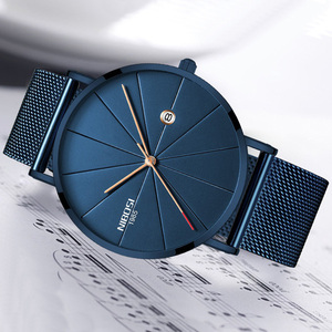 Image 2 - NIBOSI Men Blue Stainless Steel Ultra Thin Watches Men Classic Quartz Watches Luxury Date Mens Wrist Watch Relogio Masculino
