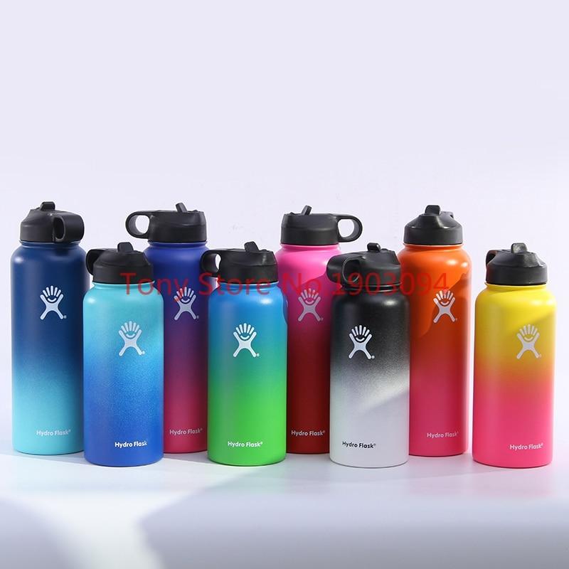 2018 colorido botellas de agua de acero inoxidable con aislamiento 18 oz/32 oz/40 oz boca ancha con deporte tapas
