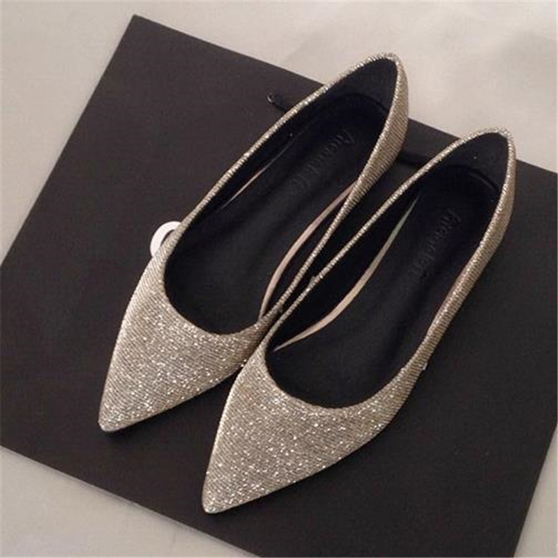 Fashion 2016 spring and summer autumn flat pointed toe flat heel single shoes 42 dipper shoes 43 women's plus size shoes 41 40 new 2017 spring summer women shoes pointed toe high quality brand fashion womens flats ladies plus size 41 sweet flock t179