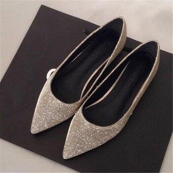 da2ee562ef0 Moda 2016 primavera y el verano del otoño en punta plana talón zapatos  planos individuales 42 balancín 43 más de las mujeres tamaño 41 40