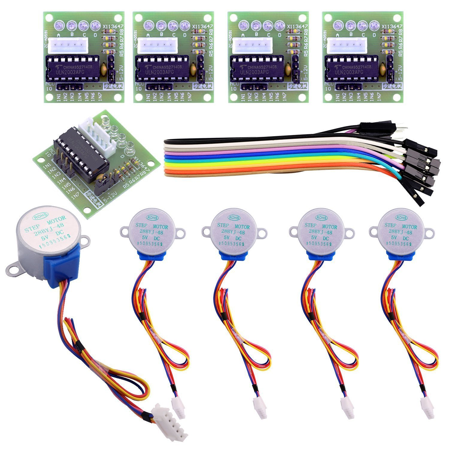 Robotlinking 5 Sets 28BYJ-48 ULN2003 5V Stepper Motor + ULN2003 Driver Board for Arduino With BoxRobotlinking 5 Sets 28BYJ-48 ULN2003 5V Stepper Motor + ULN2003 Driver Board for Arduino With Box