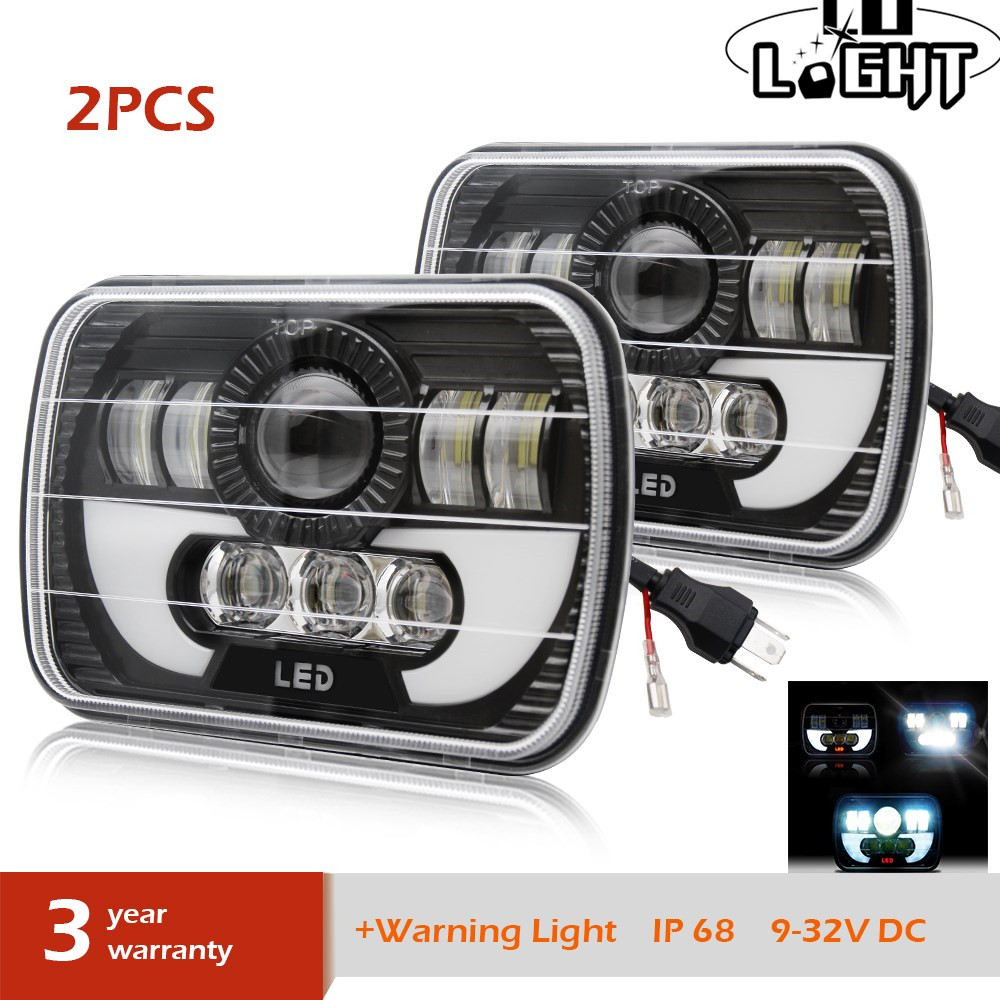 CO LIGHT 5X7 7X6 55W LED Headlights Sealed Beam Replacement for Jeep Cherokee XJ Trucks Nissan