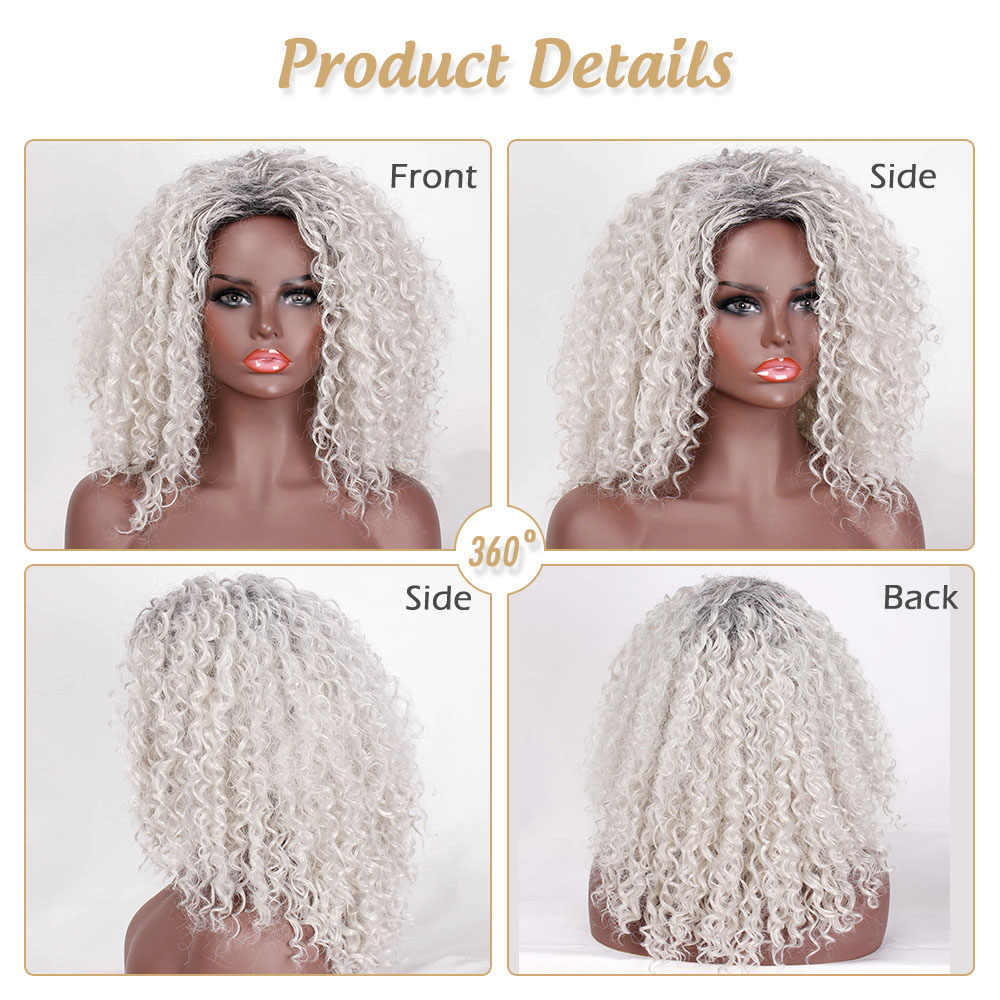 Pelucas negras y rojas con pelo Afro rizado sintético para mujer