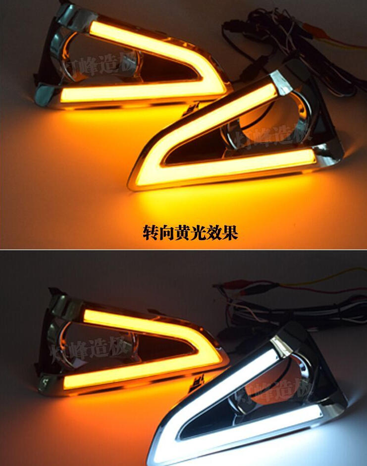led drl daytime running light with turn signals for Toyota MARK X REIZ 2013-14, top quality, 2pcs daytime running light for toyota highlander 2011 2012 2013 with amber turn signals light