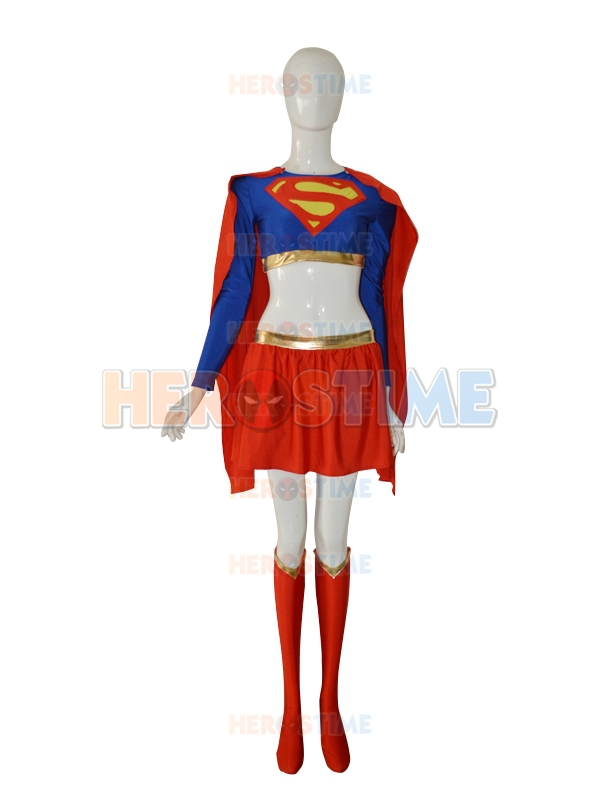 New Supergirl Skirts Red And Blue Spandex Superman Costume Halloween Cosplay Female Superhero Suit