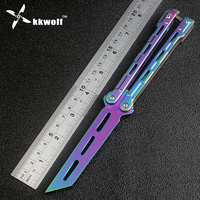 New Colorful Rainbow Practice Knife Metal Steel Butterfly Trainer Training Knife Dull Cool Sport Tool Folding