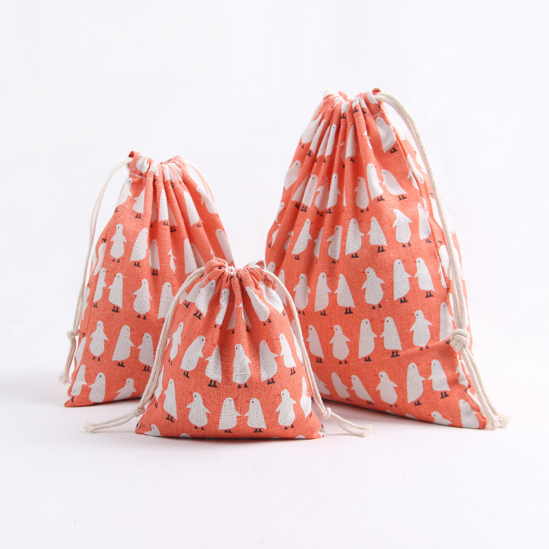 YILE Cotton Linen Drawstering Cosmetic Bag Pouch Multi-purpose Bag Print Penguin Size-choosing Party Gift Bag N8220