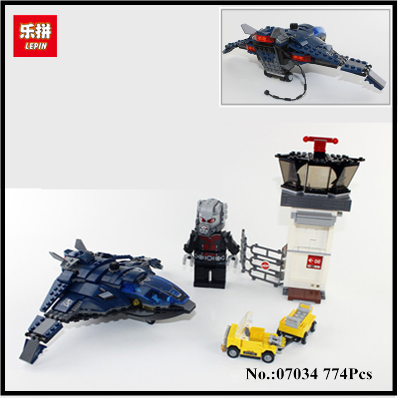 IN STOCK LEPIN 07034 774Pcs Super Heroes Airport Battle Quinjet Ant-Man Winter Soldier Building Set DIY Blocks  Educational Gift