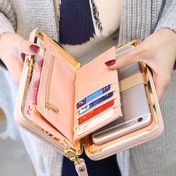 Cartera de mano Portable para mujer y niña con tarjetero largo con lazo de gran capacidad, bolso de bolsillo para teléfono móvil
