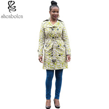 spring autumn winter 2016 Womens Coat African clothes ankara batik print lengthy sleeve Basic Double-breasted Jacket Windbreaker