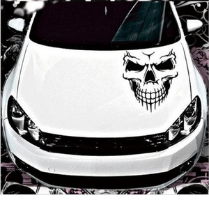 Image 1 - スカルヘッド車のステッカーやデカール反射ビニール車のスタイリング自動車エンジンフードドアデカールビッグサイズ 40 × 36 センチメートル