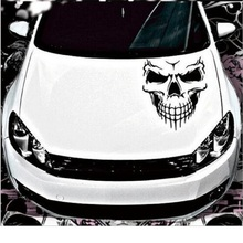 Skull Head Car Stickers and Decals Reflective Vinyl Car Styling Auto Engine Hood Door Window Car Decal  Big Size 40x36CM spider web hood rear window auto car vinyl decal stickers