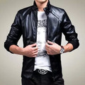 2015 spring and autumn male jacket slim stand collar casual men's clothing plus velvet outerwear PU motorcycle leather clothing