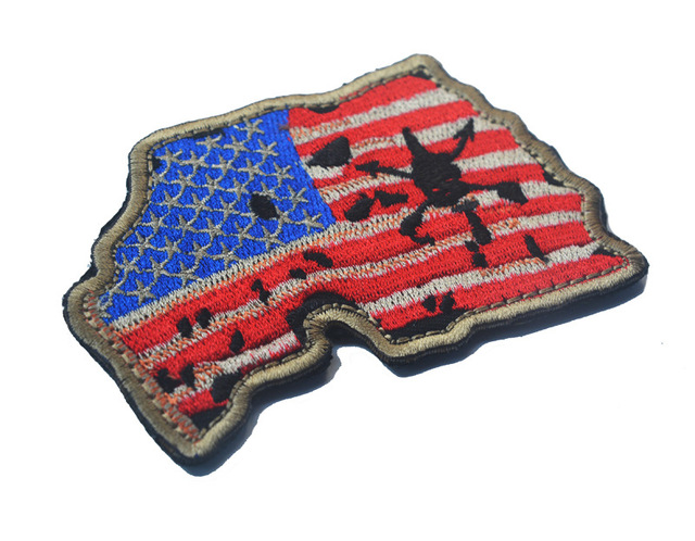 Custom United States Map with US Flag patch biker Embroidered morale