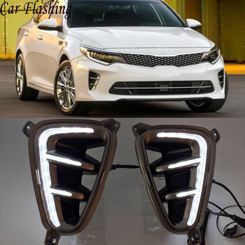 For Kia optima K5 2016-2017 White Car LED DRL Daytime Running Lights Fog Lamp