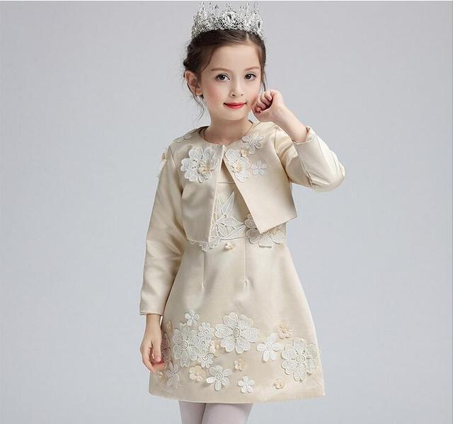 Automne rose champagne princesse filles robes pour le for Robes de fille de fleur pour le mariage d automne