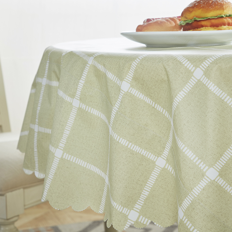 Simple Plaid Pattern Round Table Cloth Waterproof PVC Tablecloth Home Dining Table Cover for Kithchen Room Oilproof Washable