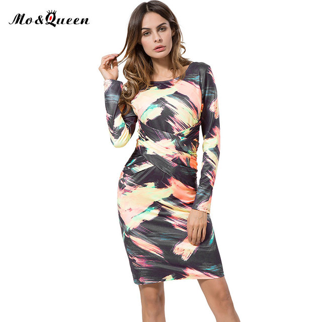 Осень Женщины Bodycon Платье 2016 Новая Мода Случайные Тонкий Карандаш Платье Для Женщин Европейский Спинки Дамы Элегантные Платья О-Образным Вырезом