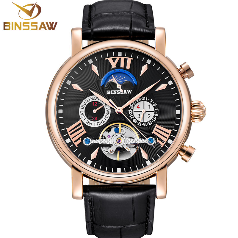Men New Tourbillon Automatic Mechanical Watch Fashion Luxury Brand Steel Sports Leather Business Watches Phase Moon Self-Wind