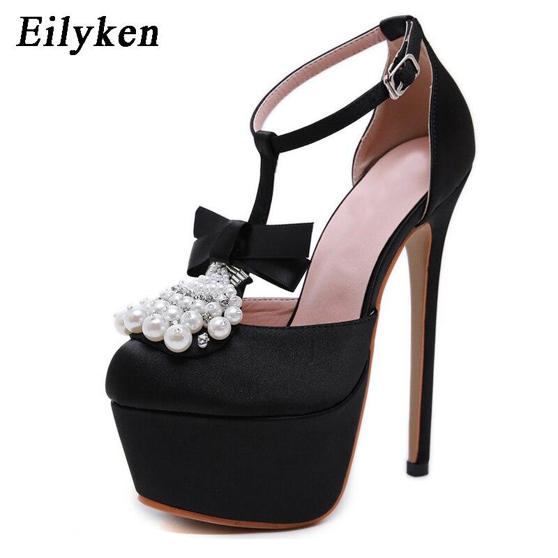 Eilyken Fashion Women Pumps High Heels 17cm Sexy String Bead Pumps Platfom shoes Wedding Party Silks Women shoes size 34 40