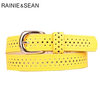 RAINIE SEAN Yellow Women Belt Hollow Out Pin Buckle Ladies Leather Solid Candy Color Korean Fashion