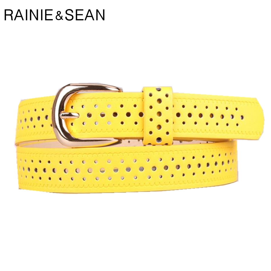 RAINIE SEAN Yellow Women   Belt   Hollow Out Pin Buckle Ladies Leather   Belt   Solid Candy Color Korean Fashion   Belt   Women
