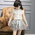 Alta qualidade moda top sem mangas blusa de renda saia tutu adolescente roupas define roupa das crianças
