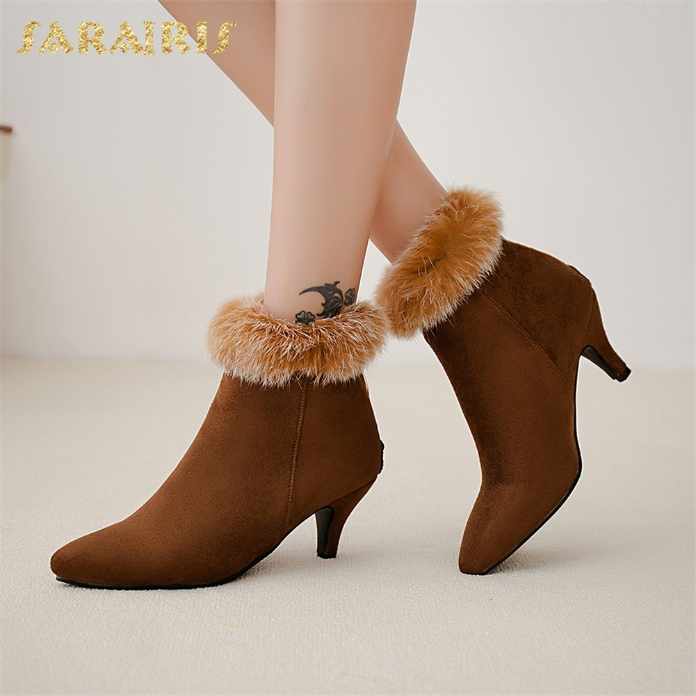 SARAIRIS New best quality real fur Large Size 33-48 Zip Up Winter Boots Woman Shoes High Heels Ankle Boots Warm Shoes booties sarairis 2018 plus size 33 52 zip up warm ankle boots woman shoes chunky high heels add fur winter shoes woman boots