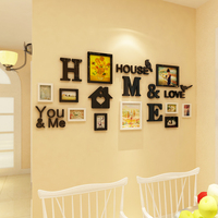 2018 new Warm photo frame combination 3D stereoscopic wall sticker family photo wall decoration living room sofa sticker
