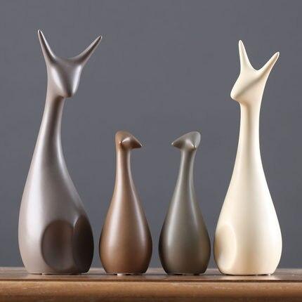 Us 460 Nordic Nowoczesne Umeblowanie Domu Kreatywna Dekoracja Domu Dekoracyjne Ceramiczne Rzemiosło Prezenty ślubne Jeleń Figurki Rodziny 34 W