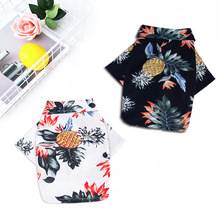 Manufacturers direct spring and summer Hawaii printed cotton hemp shirt small medium-sized teddy shiba inu pet clothes