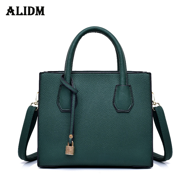 Fashion Lock Pendant Leather Handbags Women Brand Casual Tote Bags Solid Vintage Ladies Hand Bags Simple Shoulder Bag Women Sac