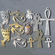 Mixed Egyptian Queen Nefertti Goddess Ankh Cross Horus Eye Scarab Beetle Pendant Charms For Jewelry Making DIY Handmade