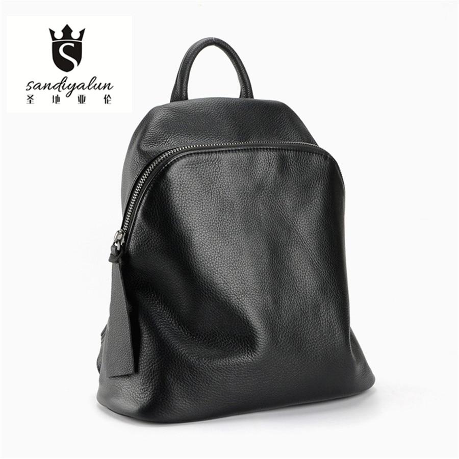 Fashion Designer Backpack Women School Bag 2016 Backpacks for Teenage Girls Brand Genuine Leather Backpack Black augur brand new fashion mens designer backpack leisure waterproof backpack women backpacks for teenage girls ag0012